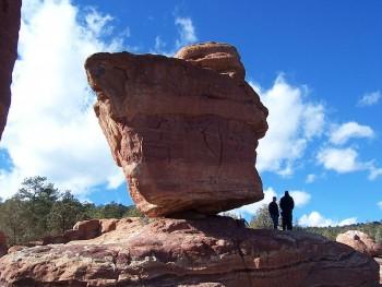 Balancing rock in Garden of the Gods park in Colorado Springs, Colorado via Wikimedia Commons