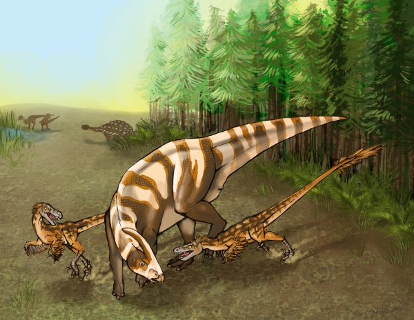 Saurornitholestes sullivani would have been a fierce predator.  Illustration by Mary P. Williams.