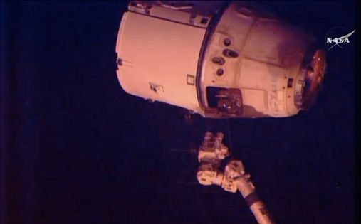 Dragon cargo craft moments after its release from iSS.  Image is a video still from NASA TV.