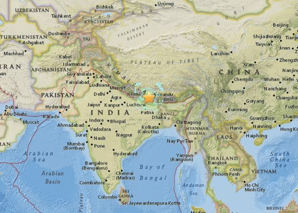 Map of May 12, 2015 earthquake epicenter via USGS