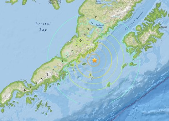 May 29, 2015 earthquake in the Aleutian arc.  Image via USGS