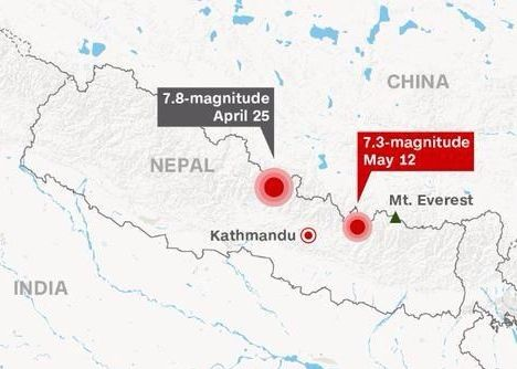 73 magnitude earthquake strikes nepal earth earthsky map via meschultz1010 on twitter gumiabroncs Choice Image