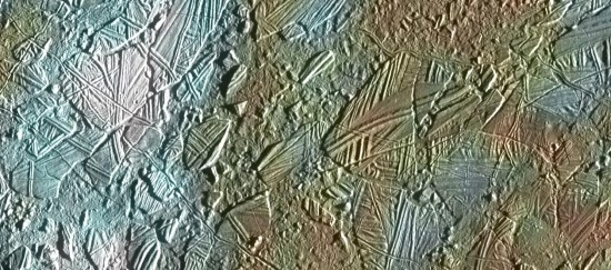View larger. | Fractures on the icy surface of Europa.  Just a week ago, scientists announced the discovery of sea salt welling up in cracks like these in Europa's surface.  Read more.