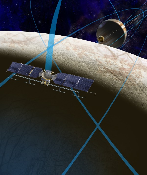 This artist's rendering shows a concept for a future NASA mission to Europa in which a spacecraft would make multiple close flybys of the icy Jovian moon, thought to contain a global subsurface ocean.  Image via NASA/JPL-Caltech