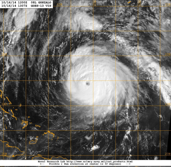 Visible satellite image of Hurricane Gonzalo at its estimated peak intensity of 125 kt (category four on the Saffir-Simpson Hurricane Wind Scale) at 1307 UTC 16 October. Image Credit: Naval Research Laboratory