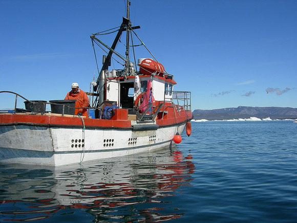 Fishing boat off the coast of Ilulissat, Greenland. Image Credit: Kristine Riskær.