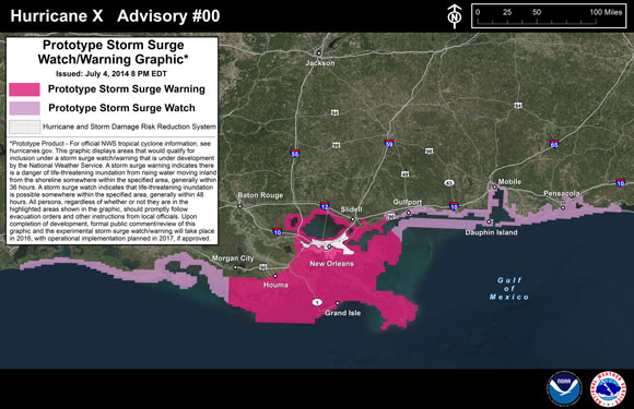 Example of a storm surge forecast that will be issued during the 2015 hurricane season. Image Credit: NOAA.