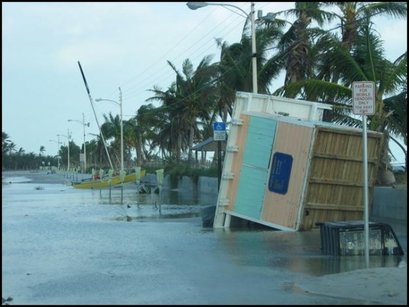 Photograph of South Roosevelt Boulevard near Smathers Beach in Key West, FL during the late afternoon of 24 October 2005, looking toward the east. Image Credit: Jim Lee