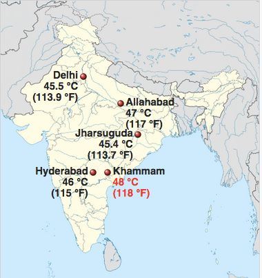 Map shows high temps throughout India, via Wikipedia