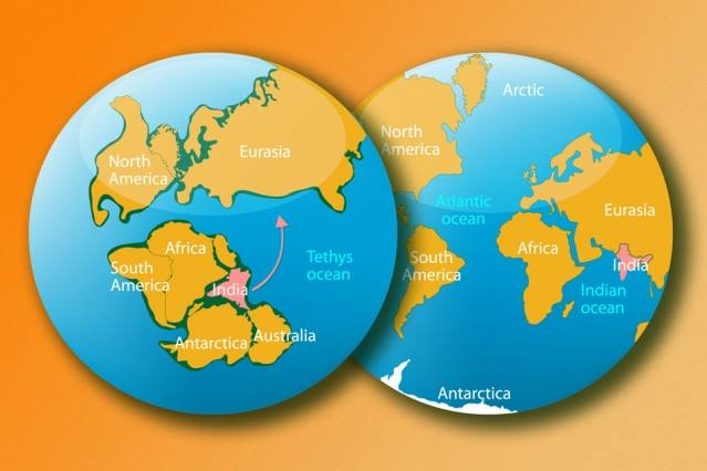 In this artist's rendering, the left image shows what Earth looked like more than 140 million years ago, when India was part of an immense supercontinent called Gondwana. The right image shows Earth today. Image credit: iStock (edited by MIT News)
