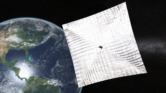 Artist's concept of LightSail in orbit around Earth.   Image by Josh Spradling/The Planetary Society.