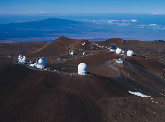 Mauna Kea summit today, as seen from the northeast.  Photo via University of Hawaii.