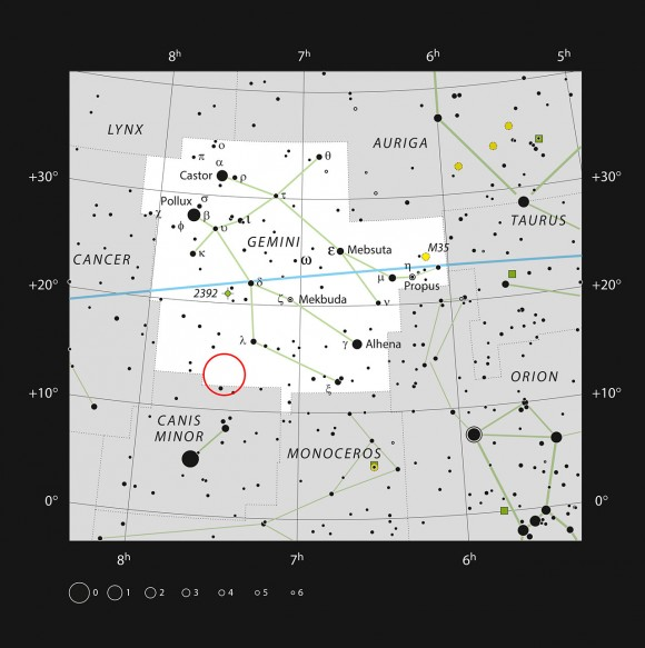 This chart shows the famous zodiacal constellation of Gemini (The Twins). All the stars that can be seen easily with the naked eye on a dark clear night are shown. The position of the Medusa Nebula is indicated. This large and beautiful planetary nebula is unfortunately too faint to be seen in small telescopes and only reveals its structure in photographs. Image credit: ESO, IAU and Sky & Telescope