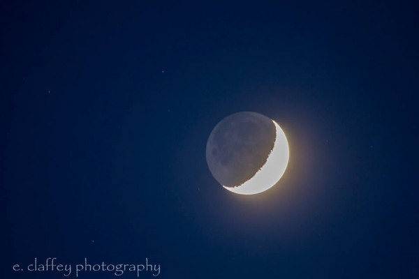 Moon on Friday night - May 22, 2015 - with earthshine, via EarthSky Facebook friend Eileen Claffey.  Thanks, Eileen!