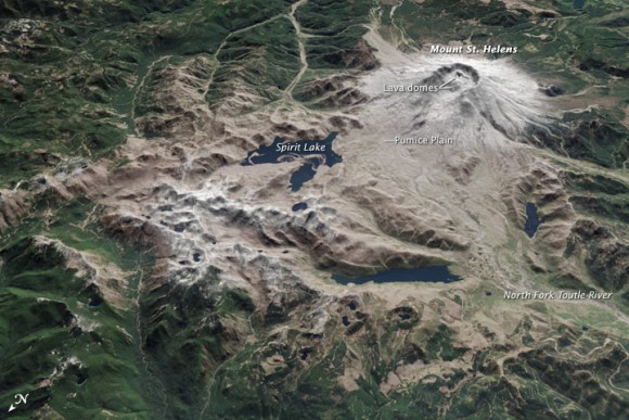 Mount St. Helens on April 20, 2015.  Read more about this image at NASA Earth Observatory.  Image via NASA's Terra satellite.