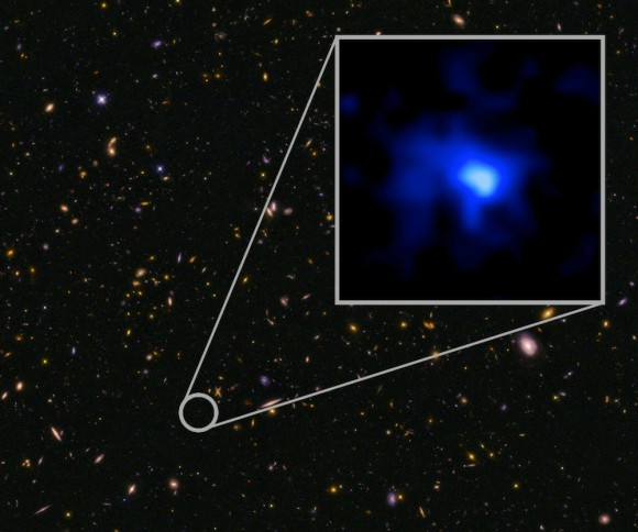 The farthest confirmed galaxy observed to date. It was identified in this Hubble image of a field of galaxies in the CANDELS survey (Cosmic Assembly Near-infrared Deep Extragalactic Legacy Survey). The W. M. Keck Observatory obtained a spectroscopic redshift (z=7.7), extending the previous redshift record. This is the most distant confirmed galaxy known, and it appears to also be one of the most massive sources at that time. The inset image of the galaxy is blue, suggesting very young stars. Image credit:  NASA, ESA, P. Oesch and  I. Momcheva (Yale University),  and the 3D-HST and HUDF09/XDF teams