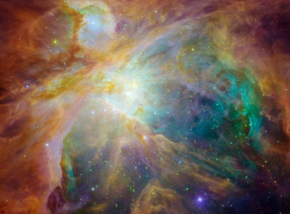 The Orion Nebula, 1,500 light years from Earth. Image credit: NASA/JPL-Caltech/STScI