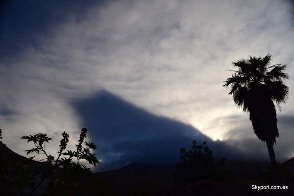 Mountain shadow on clouds, in Tenerife in Spain's Canary Islands, by Roberto Porto.