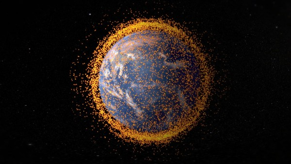 The number of objects nearly doubled from 2000 to 2014 and they have become a major obstacle to space development. The total mass of space debris is calculated to be about 3,000 tons. It consists of derelict satellites, rocket bodies and parts, and small fragments produced by collisions between debris.  Image via NASA Goddard Flight Space Center / JSC.