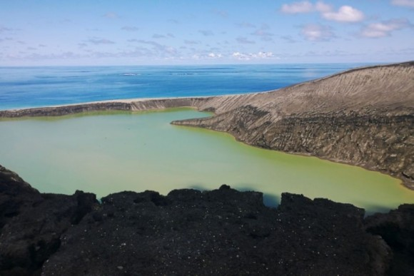The volcanic island is covered with deep channels that are unstable to walk on. Photo credit: GP Orbassano
