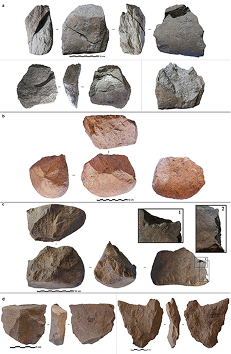 Photos of selected Lomekwi 3 stones accompanying the paper show both cores and flakes knapped from the cores that the authors say illustrate various techniques.  Image via Columbia University