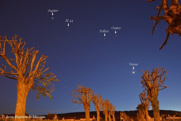 Some of the bright stars around Venus and Jupiter now.  Photo by EarthSky Facebook friend Jean-Baptiste Feldmann.