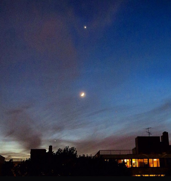 Moon and Venus on May 20, 2015 by Cindy Gurmann.  Thank you, Cindy.