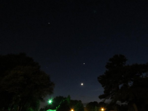 Denise Murphy captured all three - Venus, the moon and Jupiter - on May 21.  Thank you, Denise.