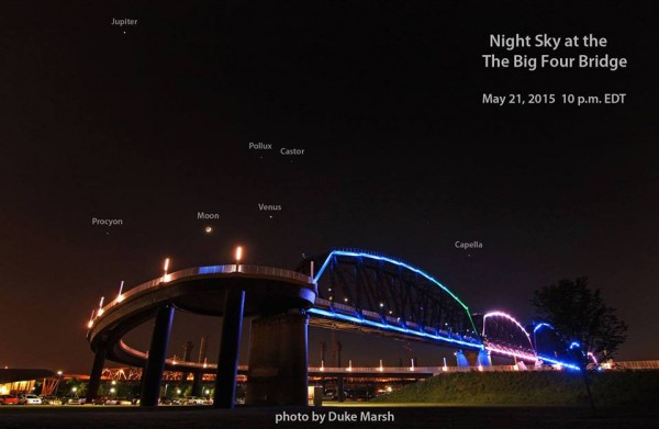 Stars and planets overhead competing with lights on the ground in Louisville, Kentucky - May 21, 2015 - from our friend Duke Marsh.  Thanks, Duke!
