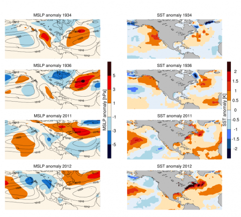 This figure shows the unusual ocean anomalies of 1934 and 36 compared to 2011 and 2012. Image credit:  Image credit: UNSW