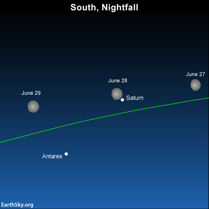 Watch for the moon to sweep past Saturn on June 27, 28 and ...