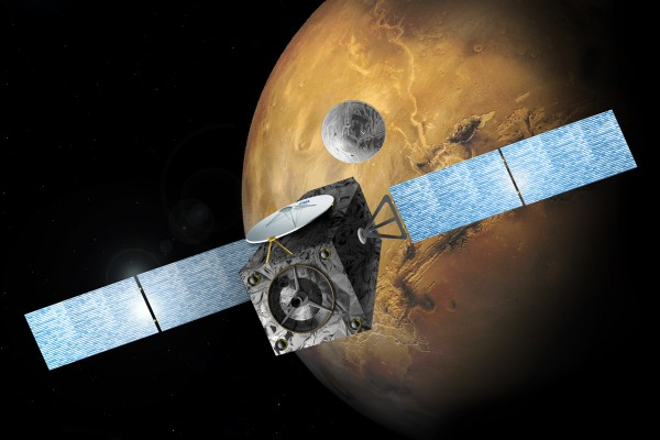 Artist's concept the Trace Gas and Data Relay Orbiter, one component of the 2016 ExoMars mission.  Image via ESA