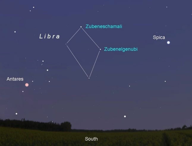 This map shows the sky facing south around 10-10:30 p.m. now through the end of the month. Libra is a faint, diamond-shaped pattern of stars. Maps created with Stellarium by AstroBob.