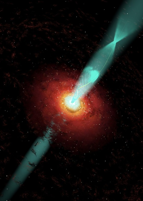 View larger. | Artist's concept of the jet from NGC 3862.  Image via Cosmovision/Wolfgang Steffen/UNAM.
