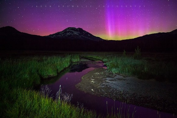 Soda Creek, South Sister and the aurora borealis from early this morning (6/23) in the Cascade Mountains of Oregon.