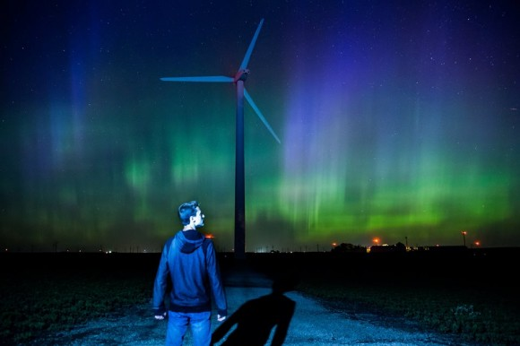 The Northern Lights put on a quite a show tonight [6/22] ... Century Wind Farm, Blairsburg, Iowa.