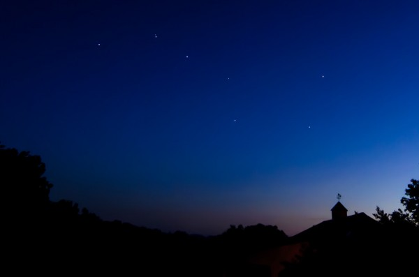 View larger. | Big Dipper before dawn in late June, 2015, by Hope Carter.