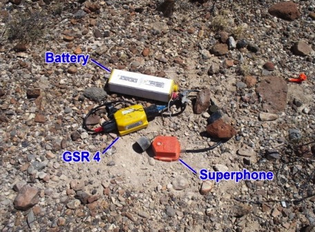 Complete seismic recording station deployed across a geothermal prospect. A single Superphone receives the reflection signal, which is digitized and saved by the module labeled GSR 4.