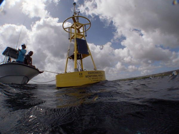 A shift during the last couple of decades to greater use of buoys for measuring sea surface temperatures might have caused the so-called global warming hiatus, which likely never happened at all.  Buoys tend to give cooler readings than measurements taken from ships.  Image via NOAA/CREWS.