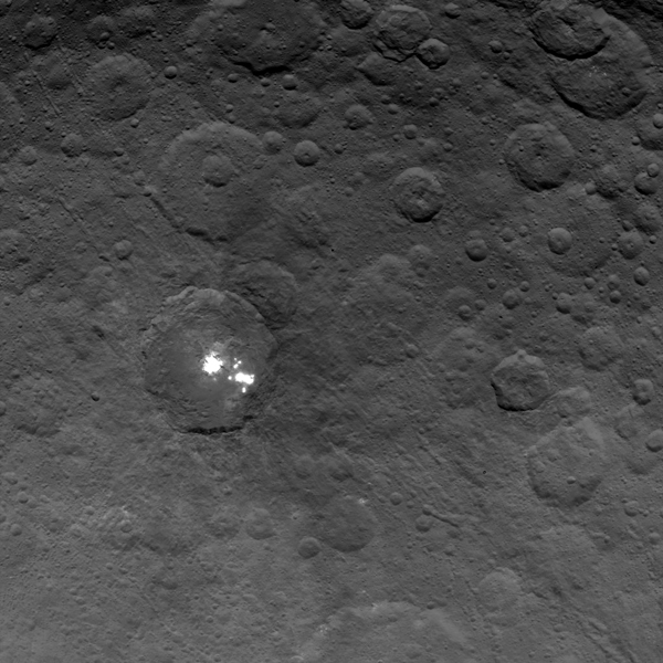View larger. | The brightest spots on dwarf planet Ceres are seen in this image taken by NASA's Dawn spacecraft on June 6, 2015. This is among the first snapshots from Dawn's second mapping orbit, which is 2,700 miles (4,400 kilometers) in altitude. The resolution is 1,400 feet (410 meters) per pixel.