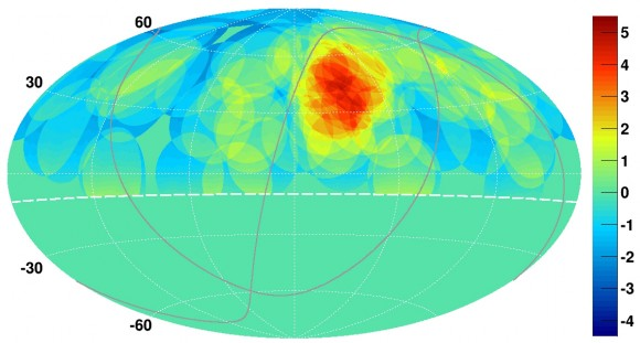 "View larger. | This map of the northern sky shows cosmic ray concentrations, with a ""hotspot"" with a disproportionate number of cosmic rays shown as the bright red and yellow spot, upper right. An international team of physicists using the University of Utah-operated Telescope Array near Delta, Utah, say their discovery of the hotspot should narrow the search for the mysterious source or sources of ultrahigh-energy cosmic rays, which carry more energy than any other known particle in the universe.  Image via K. Kawata, University of Tokyo Institute for Cosmic Ray Research"