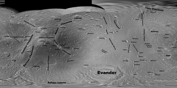 View larger. | Feature names on Dione.  NASA / JPL / SSI / mosaic by Steve Albers / map by Jason Perry