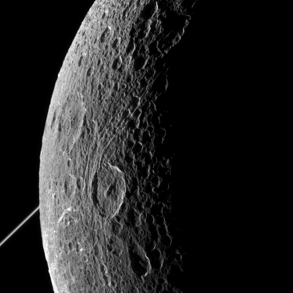 NASA's Cassini imaging scientists processed this view of Saturn's moon Dione, taken during a close flyby on June 16, 2015. This was Cassini's fourth targeted flyby of Dione and had a close approach altitude of 321 miles (516 kilometers) from Dione's surface. Credit: NASA/JPL-Caltech/Space Science Institute