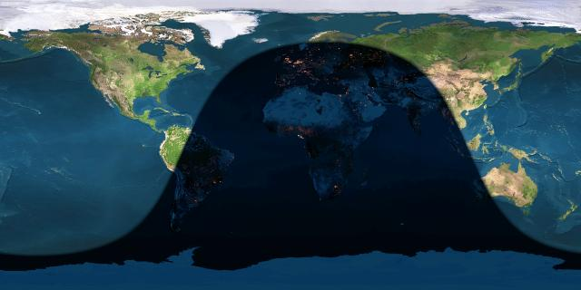 Day and night sides of Earth at the instant of the June solstice (2016 June 20 at 22:34 Universal Time).