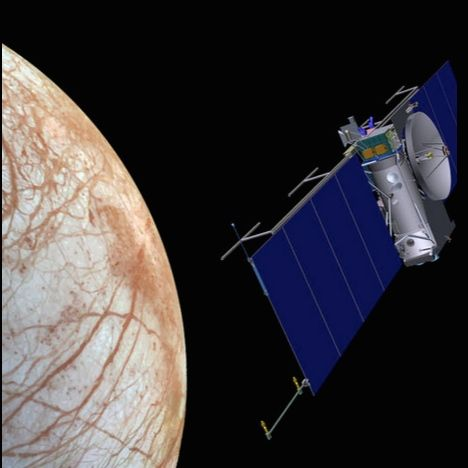 Artist's concept of spacecraft at Jupiter's moon Europa.  Image via NASA