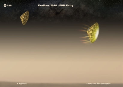 ExoMars EDM - aka Schiaparelli - The EDM enters the atmosphere at an altitude of 120 km. The heat shield will protect the EDM from the severe heat flux and deceleration from Mach 35 to Mach 5 (Mach 5 is motion 5 times greater than the speed of sound. Rockets and the space shuttle reach this speed as they go into orbit).