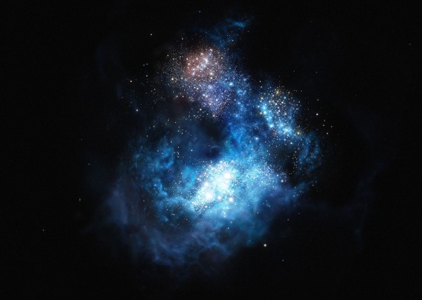 View larger.   Artist's concept of  CR7, a very distant galaxy and by far the brightest galaxy yet found in the early universe.  There is strong evidence that examples of the first generation of stars lurk within it.  Image via ESO.