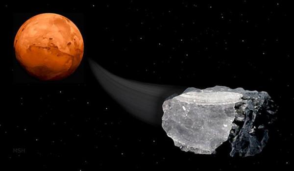 Artist's concept of meteorite from Mars by Michael Helfenbein via space.com