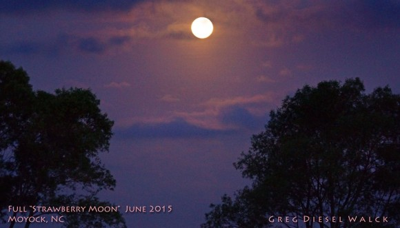 Moon set in the west this morning - June 2, 2015 - opposite the sunrise.  It'll rise again in the east this evening, opposite the sunset.  Photo by GregDiesel Landscape Photography in Moyock, North Carolina.