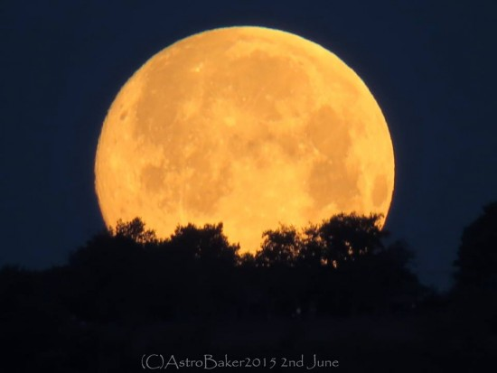 Kat Baker caught the June 2 moonset before dawn, too, from the northern hills of Italy.  Thank you, Kat!
